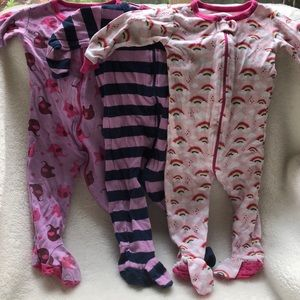 Lot of 3 leveret 6-12 mos zip up footed pajamas